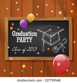 Graduation party poster design. Vector illustration