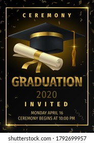 Graduation party. Prom celebration invitation poster, congratulation and greetings flyer with black degree cap and confetti. Vector diploma card education banner with golden ribbon