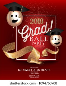 Graduation party red card with gold sparkling ribbons and air balloons. Vector illustration