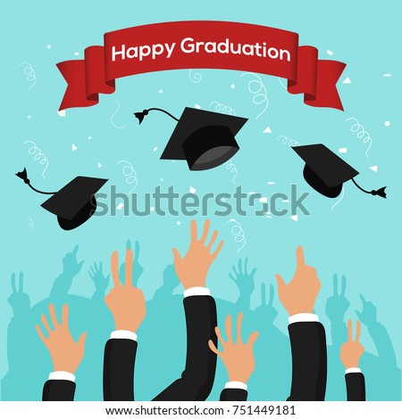 graduation party template graduation caps thrown stock vector
