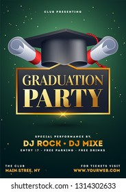 Graduation party template or flyer design with illustration of mortar board on green background.