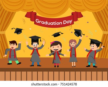 Graduation party template with happy graduated stundent celebrating by throwing their caps.
