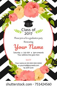 Graduation party template invitation to the traditional ceremony, college, university or high school student party, graduation cap on watercolor decorated flowers background.