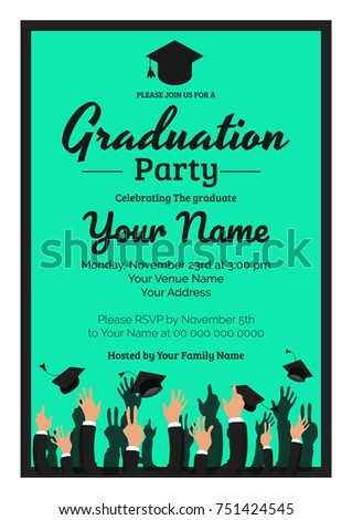 graduation party template invitation to the traditional ceremony college university or high school student