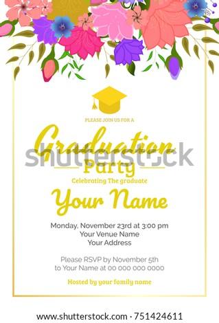 graduation party template invitation traditional ceremony stock