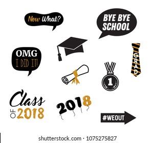 graduation party vector design elements and photo booth props. vector illustration