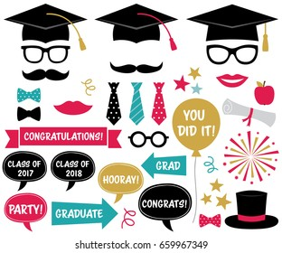 Graduation party vector design elements and photo booth props