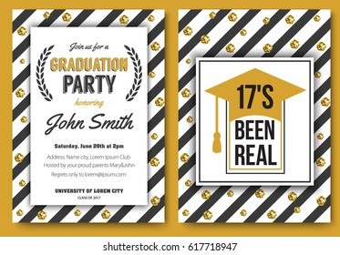 Graduation party vector template invitation to the traditional ceremony, college, university or high school student party, welcoming poster with elegant gold design