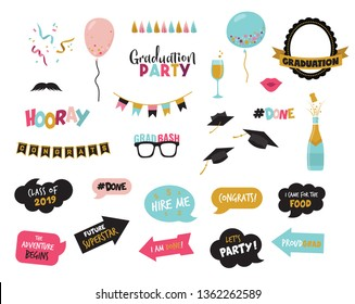 graduation photo booth elemnts and props-vector illustration