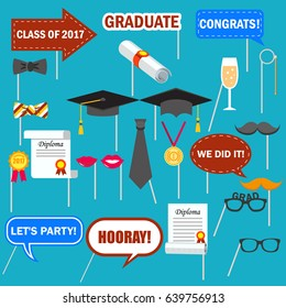 Graduation Photo booth props set,  Colored Design Elements. Graduate Party  Requisite collection. Isolated. Vector. With hat, diploma, lips, moustache, medal