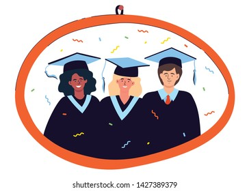 Graduation photo - colorful flat design style illustration. A composition with three male, female international students in mantles and academic caps on a picture in a frame. Education theme