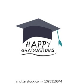 graduation poster with cap and diploma scroll on white background