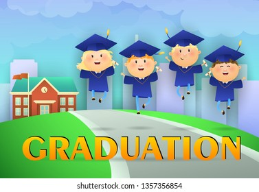 Graduation poster design. Cartoon graduates in mortarboards and gowns, road to school, grass, and city in background. Illustration can be used for banners, flyer, commencement ceremony
