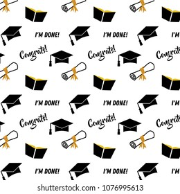 Graduation seamless pattern. Black and golden vector background for graduation party or ceremony invitation, greeting card or web page and poster design. Vector flat.