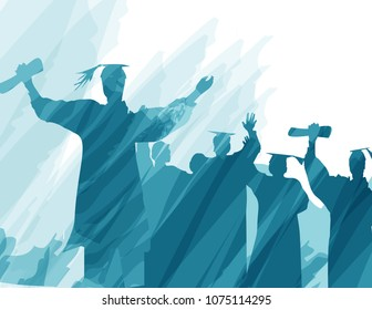 Graduation in silhouette in water color painting.