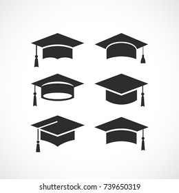 Graduation student black cap silhouette icon on white background