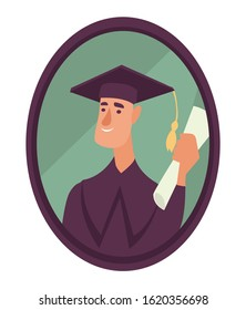 Graduation student isolated icon, guy in academic hat and mantle photo vector. Boy with diploma in frame, male character photography, family member portrait. Memories, education and degree receiving