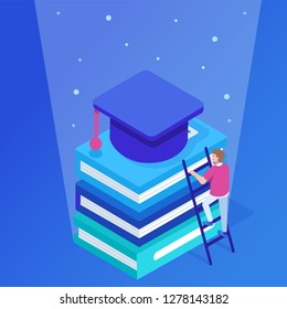 Graduation and success concept. Can use for web banner, infographics, hero images. Flat isometric vector illustration isolated on white background.
