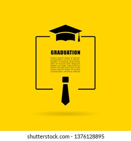 Graduation text box vector design isolated on yellow background