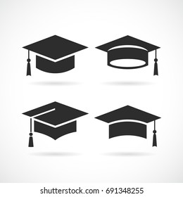 Graduation university square cap icon isolated on white background