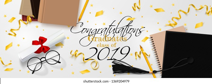 Graduation vector banner. Background Congrats graduates with objects viewed from above hat with degree paper, books, notebook and pencil, glasses, gold confetti, ribbons and stars.