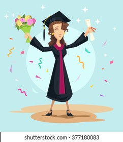 Graduation. Vector flat illustration