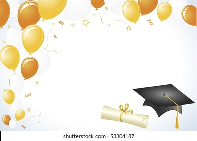 Graduation Vector with Orange, Yellow, and Gold Color Theme