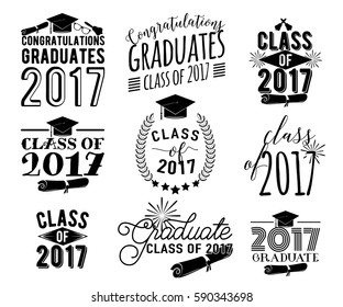 Graduation wishes monochrome overlays, lettering labels design set. Retro graduate class of 2017 badges. Hand drawn emblem with sunburst, hat, diploma, bell. Isolated. Sign or logo