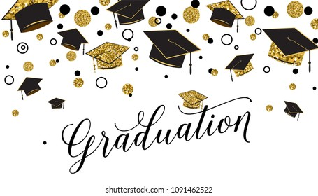 Graduation word with graduate cap, black and gold color, glitter dots on a white background. Congratulation graduates 2018 class of. Design for greeting, banner, invitation. Vector illustration