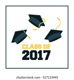 gradutation hats iconsover white background. class of 2017 concept. colorful design. vector illustration