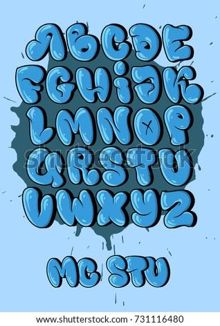 graffiti alphabet in bubble style
