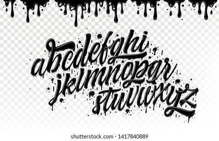 Graffiti Alphabet. Hand Drawn Typeface with Grunge Paint Effect for a Logo, Cards, Invitations, Posters, Banners. Vector Illustration.