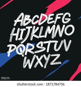 Graffiti Alphabet handwriting, vector, hand letter, brush, vintage