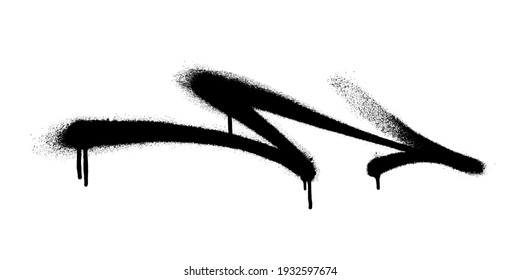 Graffiti arrow with overspray in black over white.