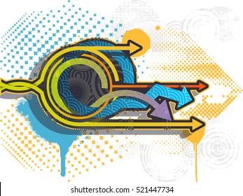 Graffiti arrows background. Graffiti banner. Vector illustration.