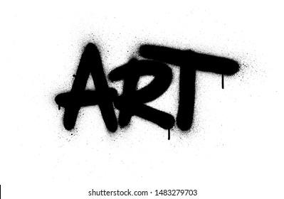 graffiti art word sprayed in black over white