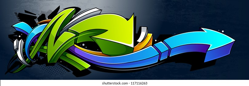 Graffiti background. Horizontal graffiti banner. Vector EPS 10 illustration.