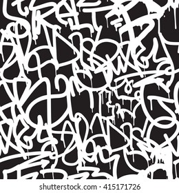Graffiti background seamless pattern. Vector Tags, writing. Old school. King of style, street art texture. Monochrome black and white colors