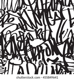 Graffiti background seamless pattern. Vector Tags, writing. Tagging hand, old school. King of style, street art texture.
