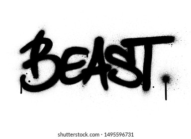 graffiti beast word sprayed in black over white