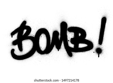 graffiti bomb word sprayed in black over white