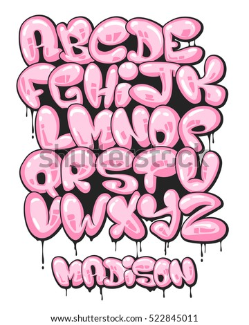 Graffiti Bubble Shaped Alphabet Set Stock Vector Royalty Free