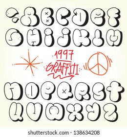 Graffiti Bubble Alphabet Vector Set Stock Vector Royalty Free
