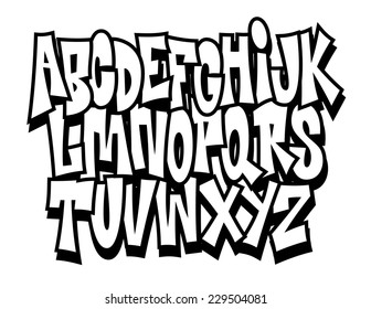Graffiti Cartoon Comic Doodle Font Alphabet Vector