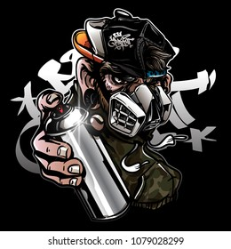 Graffiti character monkey with gas mask holding a spray paint