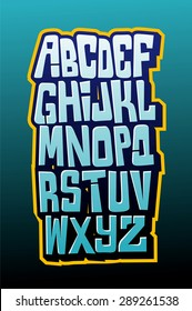 Graffiti comics style lettering font. Vector alphabet