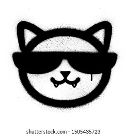 graffiti cool cat icon sprayed in black over white