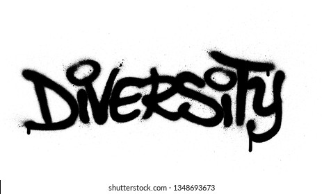 graffiti diversity word sprayed in black over white