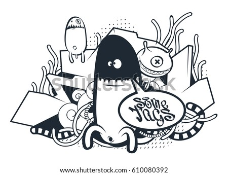 graffiti doodle art vector doodle characters with speech bubble for your text graffiti style