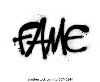 graffiti fame word sprayed in black over white